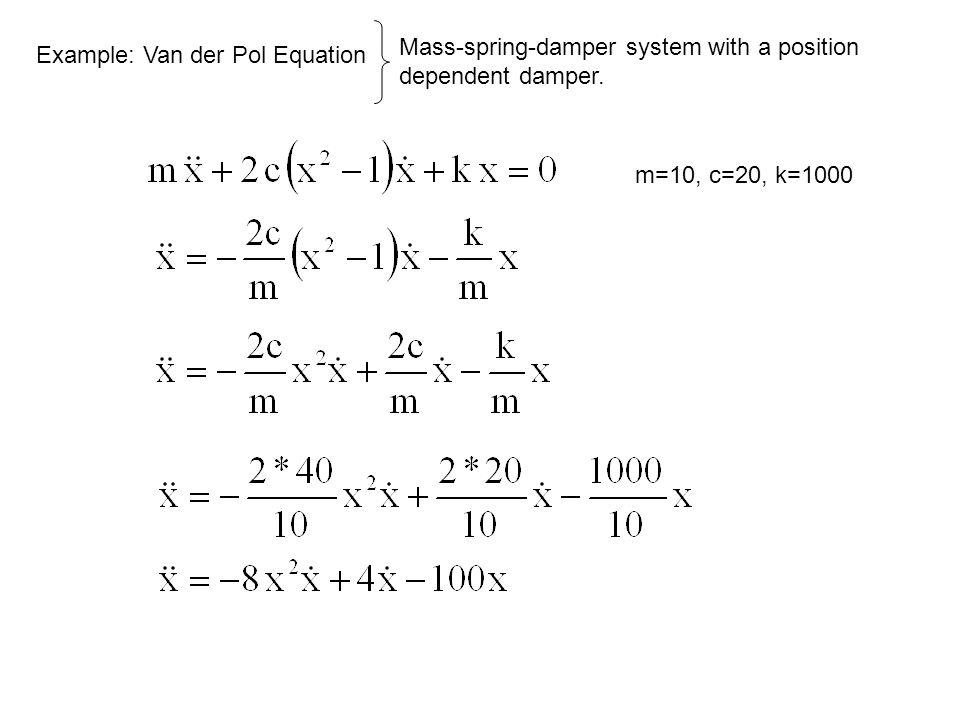 Example: Van der Pol Equation m=10, c=20, k=1000 Mass-spring-damper system with a position dependent damper.