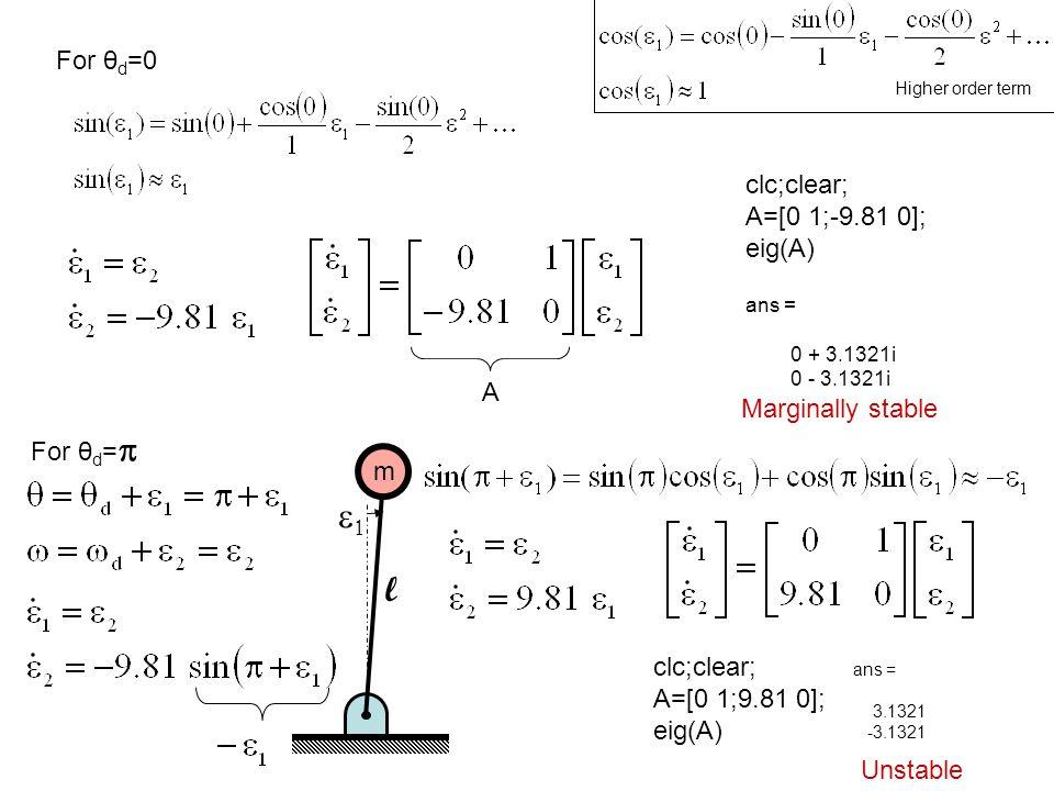 For θ d =0 A ans = 0 + 3.1321i 0 - 3.1321i clc;clear; A=[0 1;-9.81 0]; eig(A) For θ d =  Higher order term clc;clear; A=[0 1;9.81 0]; eig(A) ans = 3.
