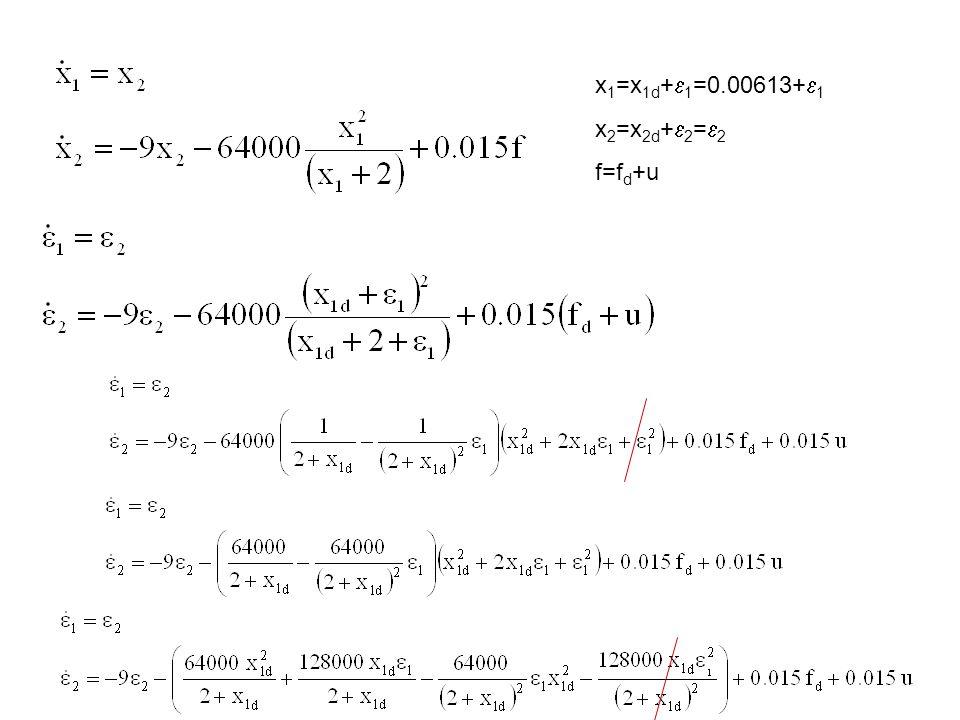 x 1 =x 1d +  1 =0.00613+  1 x 2 =x 2d +  2 =  2 f=f d +u