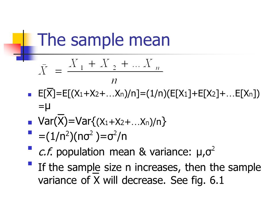 Distributions Of Sampling Statistics Chapter 6 Sample Mean