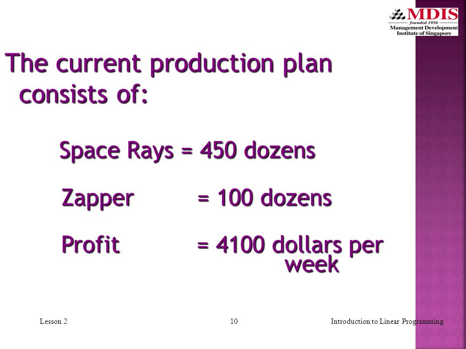 9Introduction to Linear ProgrammingLesson 2  Current production plan calls for:  Producing as much as possible of the more profitable product, Space Ray ($8 profit per dozen).