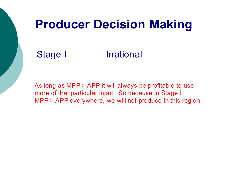 Stage I Irrational As long as MPP > APP it will always be profitable to use more of that particular input. So because in Stage I MPP > APP everywhere,