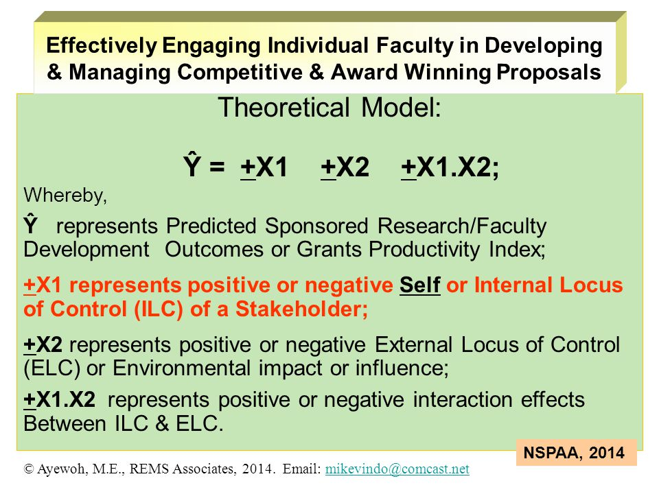 Theoretical Model: Ŷ = +X1 +X2 +X1.X2; Whereby, Ŷ represents Predicted Sponsored Research/Faculty Development Outcomes or Grants Productivity Index; +X1 represents positive or negative Self or Internal Locus of Control (ILC) of a Stakeholder; +X2 represents positive or negative External Locus of Control (ELC) or Environmental impact or influence; +X1.X2 represents positive or negative interaction effects Between ILC & ELC.