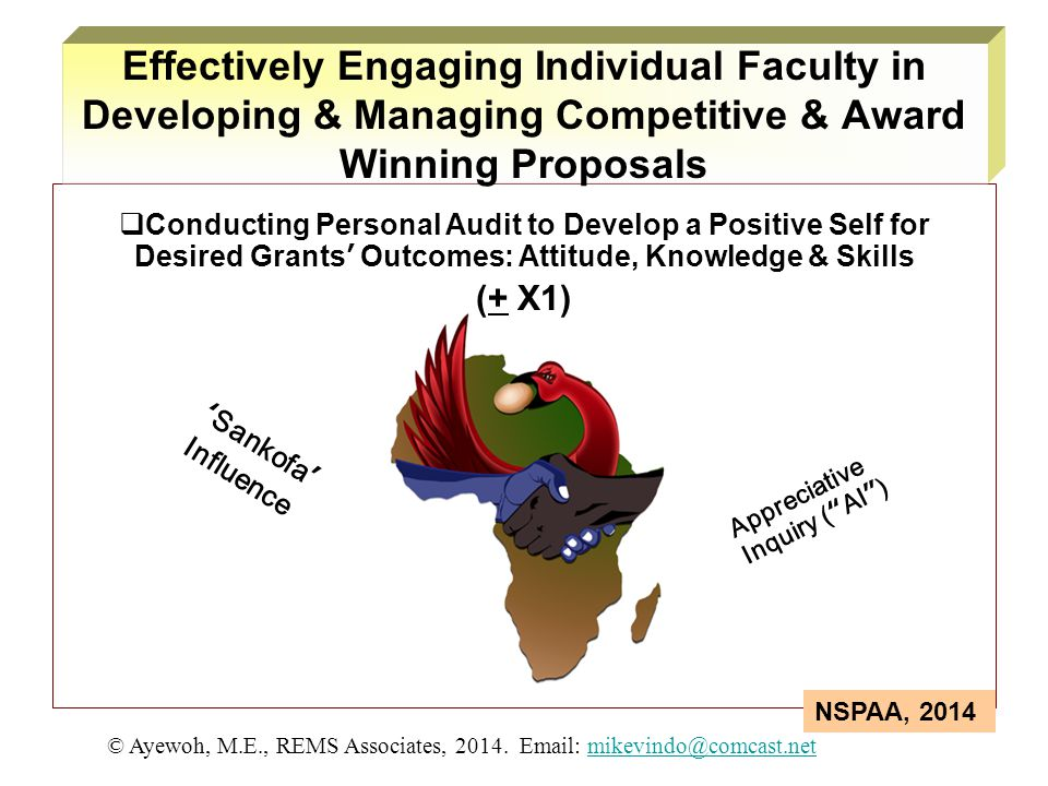  Conducting Personal Audit to Develop a Positive Self for Desired Grants' Outcomes: Attitude, Knowledge & Skills (+ X1) 'Sankofa' Influence Appreciat