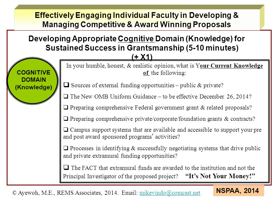 Developing Appropriate Cognitive Domain (Knowledge) for Sustained Success in Grantsmanship (5-10 minutes)  (+ X1) COGNITIVE DOMAIN (Knowledge) In you
