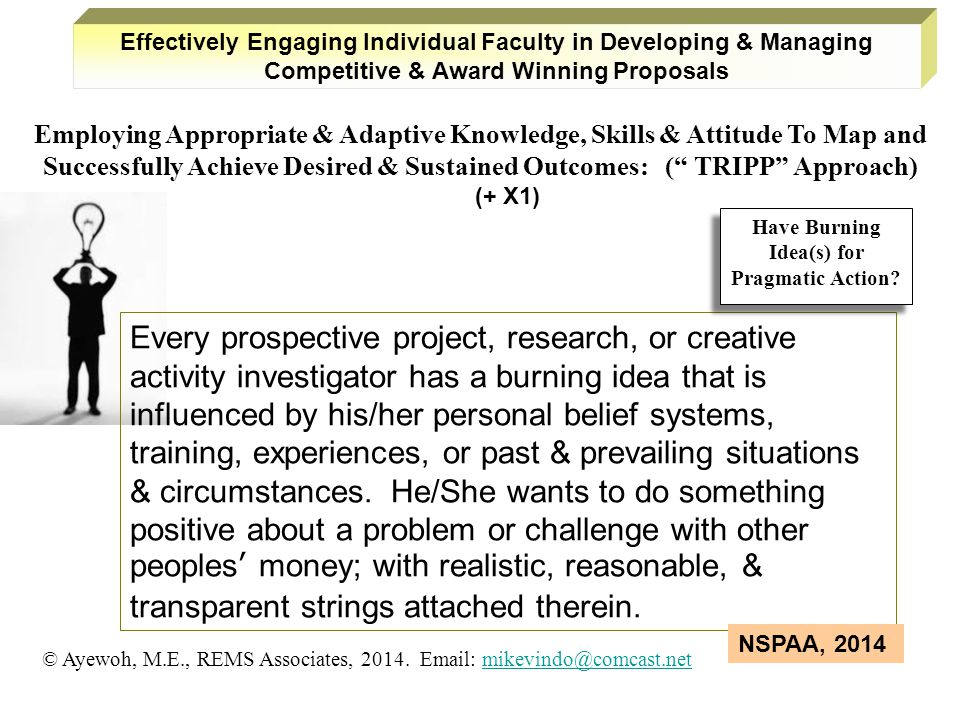 Every prospective project, research, or creative activity investigator has a burning idea that is influenced by his/her personal belief systems, training, experiences, or past & prevailing situations & circumstances.