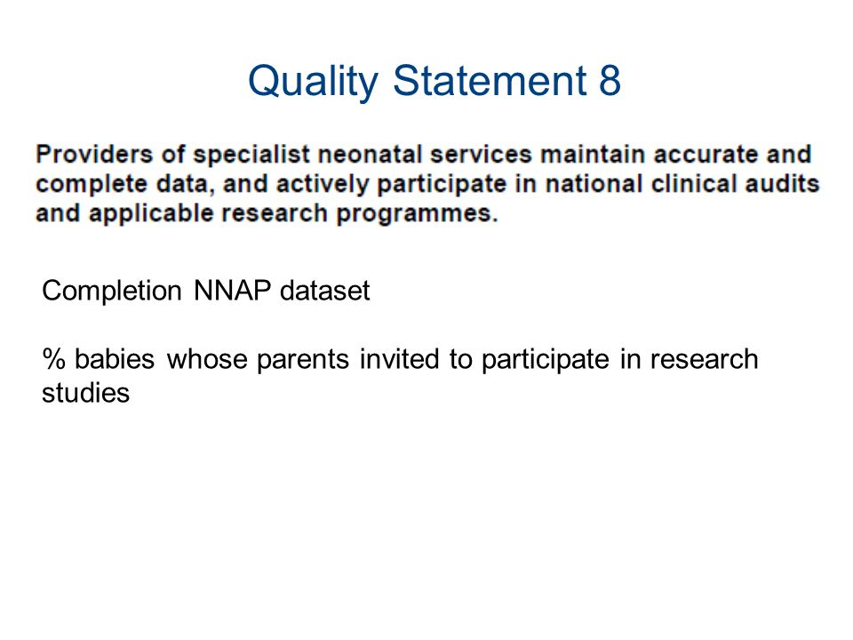Quality Statement 8 Completion NNAP dataset % babies whose parents invited to participate in research studies