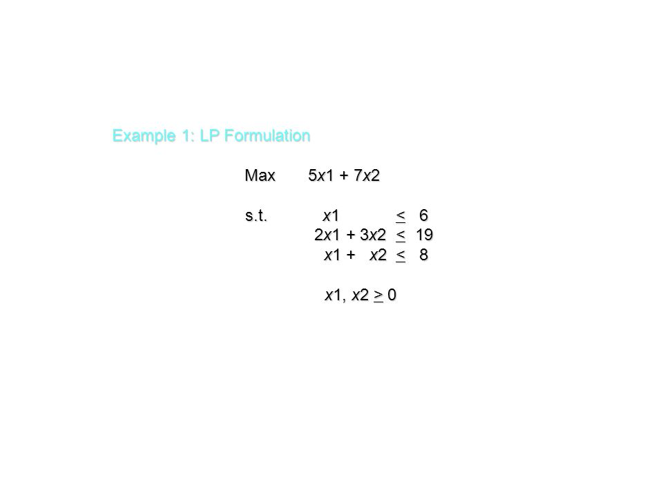 Solve for the Extreme Point at the Intersection of the Two Binding Constraints 4x1 - x2 = 12 4x1 - x2 = 12 x1+ x2 = 4 x1+ x2 = 4 Adding these two equations gives: Adding these two equations gives: 5x1 = 16 or x1 = 16/5.