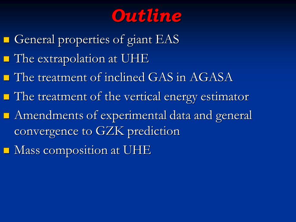 Outline General properties of giant EAS General properties of giant EAS The extrapolation at UHE The extrapolation at UHE The treatment of inclined GA