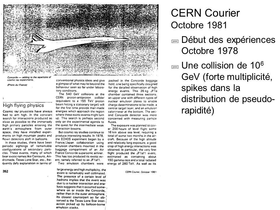 CERN Courier Octobre 1981  Début des expériences Octobre 1978  Une collision de 10 6 GeV (forte multiplicité, spikes dans la distribution de pseudo-