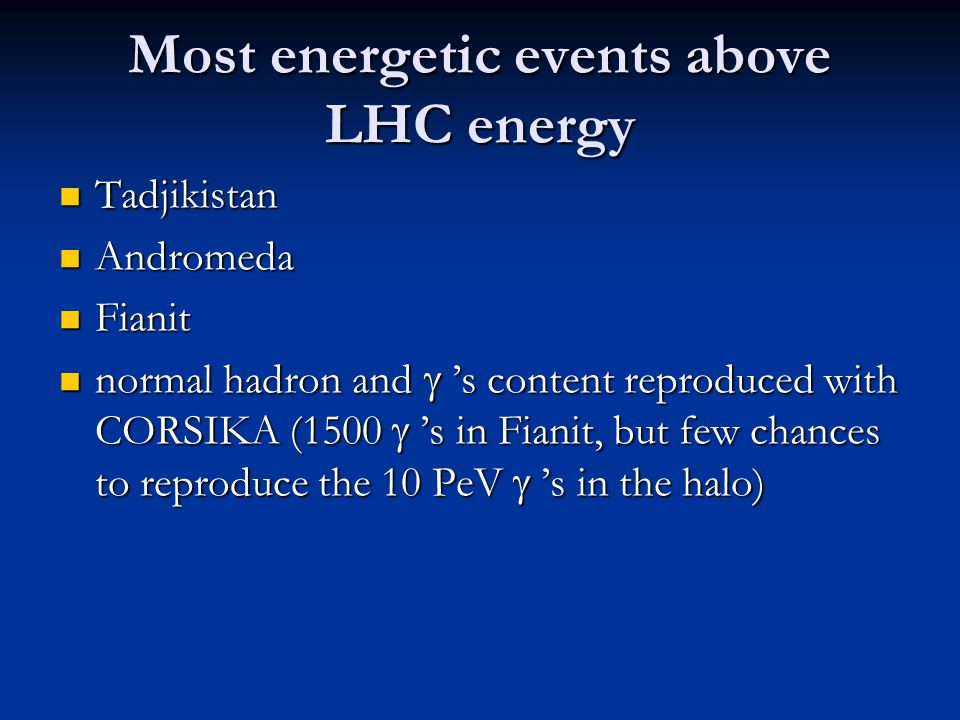 Most energetic events above LHC energy Tadjikistan Tadjikistan Andromeda Andromeda Fianit Fianit normal hadron and  's content reproduced with CORSIK