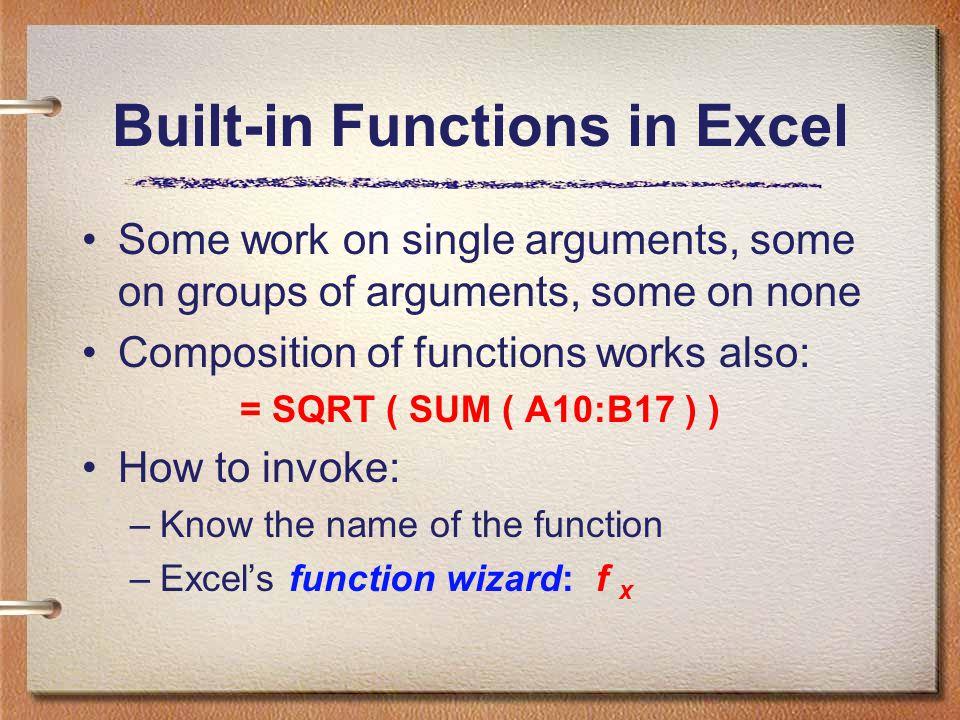 Elementary Math = SQRT (x) = ABS (x) = FACT (x) = SUM (x1,x2,…) = GCD (x1,x2,…) = LCM (x1,x2,…) = CEILING (x1,x2,…) = ROUND (x) = SUM (x1,x2,…) = COUNT (x1,x2,…) = EXP (x) = LOG (x) = LOG10 (x) = POWER (x,y) = RAND ( ) …….many others