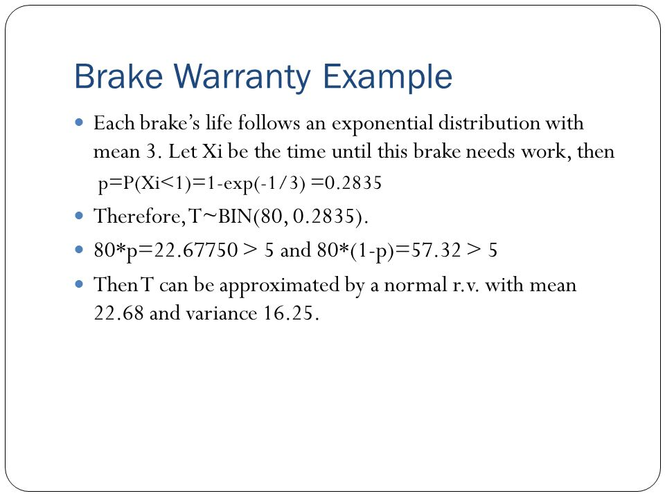 Brake Warranty Example Each brake's life follows an exponential distribution with mean 3.