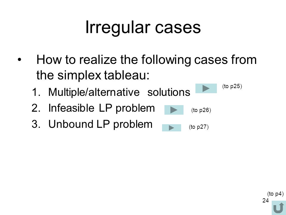 24 Irregular cases How to realize the following cases from the simplex tableau: 1.Multiple/alternative solutions 2.Infeasible LP problem 3.Unbound LP
