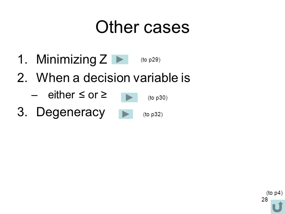 28 Other cases 1.Minimizing Z 2.When a decision variable is –either ≤ or ≥ 3.Degeneracy (to p29) (to p32) (to p30) (to p4)