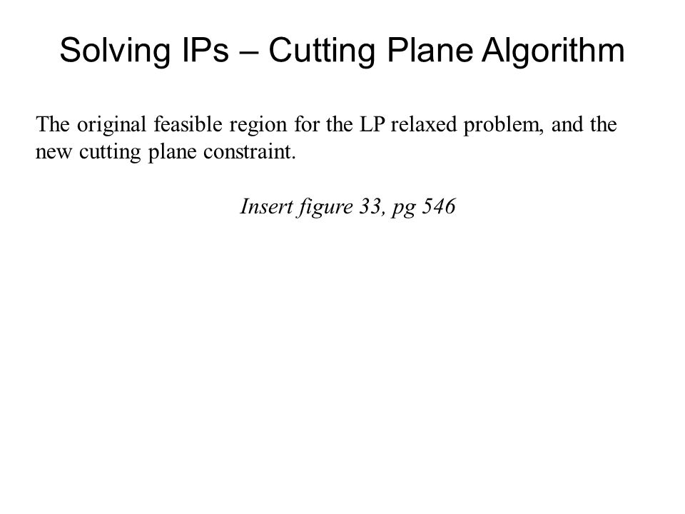 Solving IPs – Cutting Plane Algorithm The original feasible region for the LP relaxed problem, and the new cutting plane constraint.