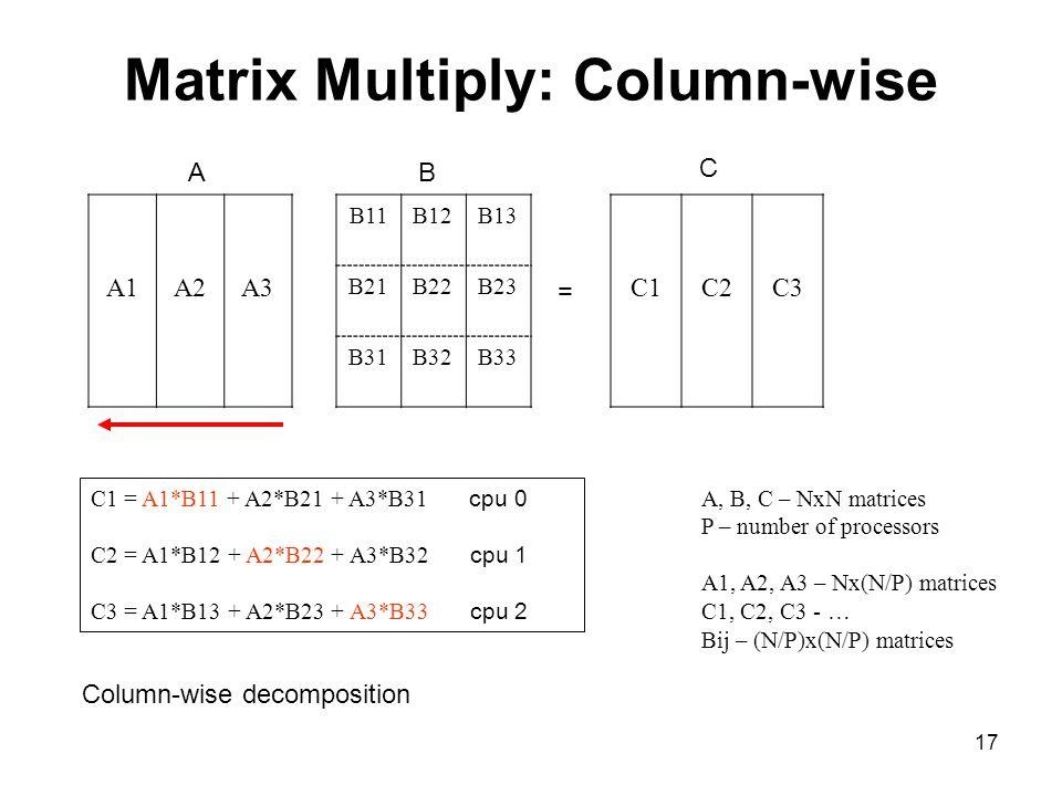 17 Matrix Multiply: Column-wise A1A2A3 B11B12B13 B21B22B23 B31B32B33 C1C2C3 = AB C C1 = A1*B11 + A2*B21 + A3*B31 cpu 0 C2 = A1*B12 + A2*B22 + A3*B32 c