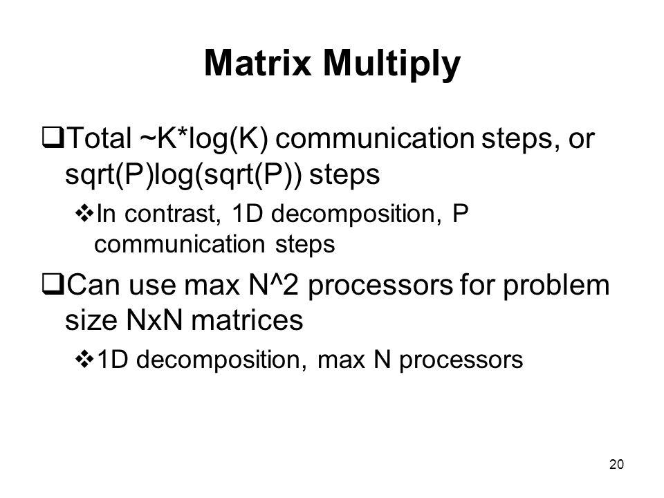 20 Matrix Multiply  Total ~K*log(K) communication steps, or sqrt(P)log(sqrt(P)) steps  In contrast, 1D decomposition, P communication steps  Can us