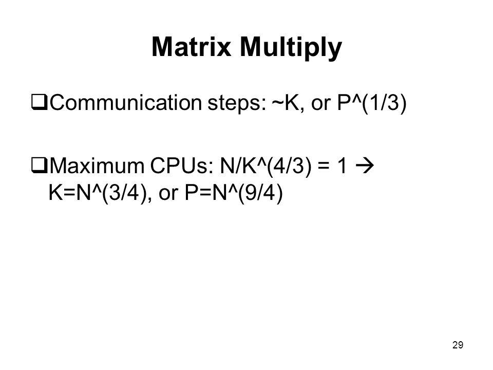 29 Matrix Multiply  Communication steps: ~K, or P^(1/3)  Maximum CPUs: N/K^(4/3) = 1  K=N^(3/4), or P=N^(9/4)