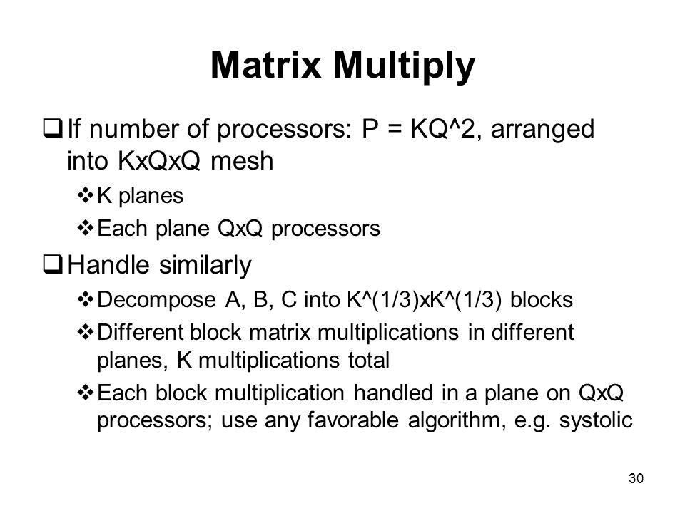 30 Matrix Multiply  If number of processors: P = KQ^2, arranged into KxQxQ mesh  K planes  Each plane QxQ processors  Handle similarly  Decompose