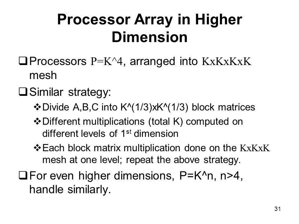 31 Processor Array in Higher Dimension  Processors P=K^4, arranged into KxKxKxK mesh  Similar strategy:  Divide A,B,C into K^(1/3)xK^(1/3) block ma