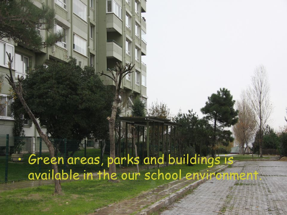 Green areas, parks and buildings is available in the our school environment.