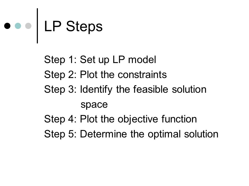 LP Steps Step 1: Set up LP model Step 2: Plot the constraints Step 3: Identify the feasible solution space Step 4: Plot the objective function Step 5: Determine the optimal solution