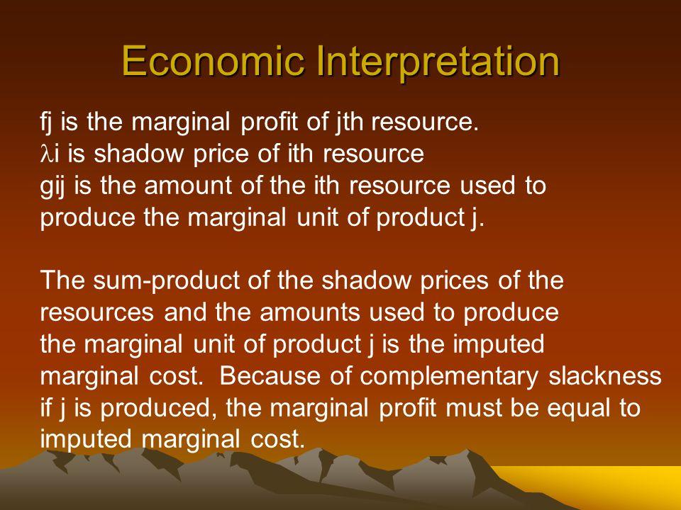 Economic Interpretation fj is the marginal profit of jth resource. i is shadow price of ith resource gij is the amount of the ith resource used to pro