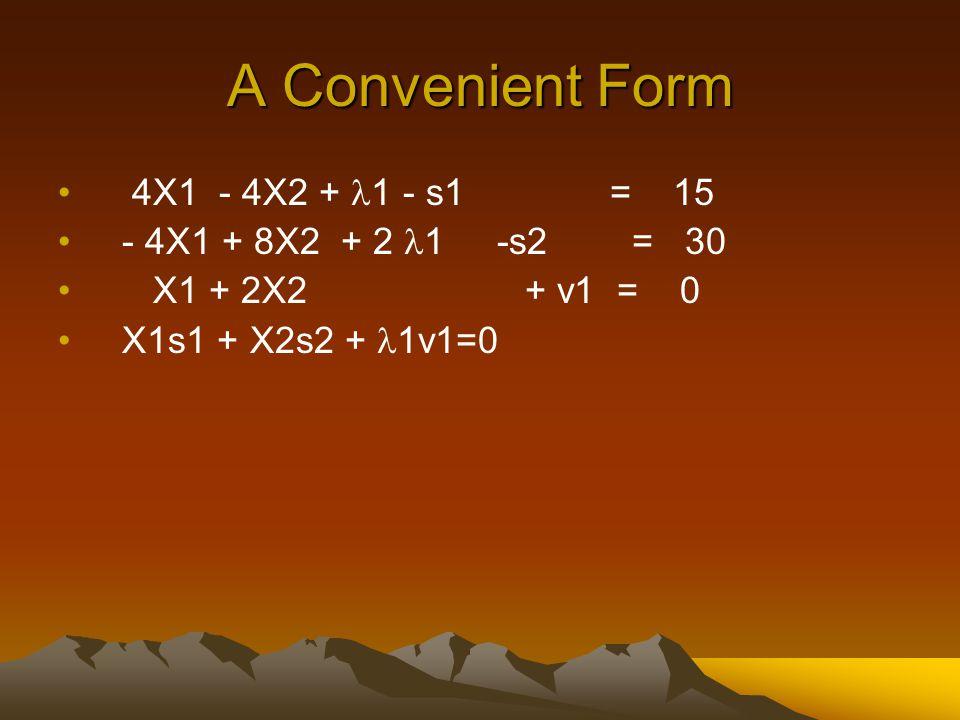 A Convenient Form 4X1 - 4X2 + 1 - s1 = 15 - 4X1 + 8X2 + 2 1 -s2 = 30 X1 + 2X2 + v1 = 0 X1s1 + X2s2 + 1v1=0