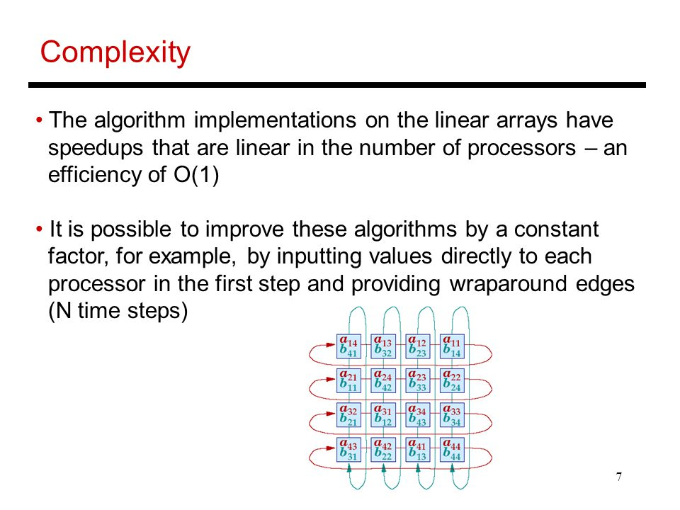 7 Complexity The algorithm implementations on the linear arrays have speedups that are linear in the number of processors – an efficiency of O(1) It i