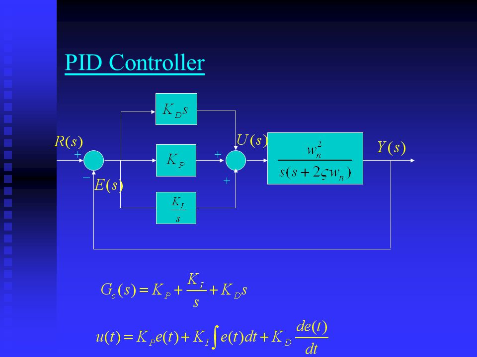 Program of PID Controller clear; clear; x1=0;x2=0;dt=0.01;r=1;step=2000; x1=0;x2=0;dt=0.01;r=1;step=2000; kp=1;kd=6;ki=0.1;pe=r-x1;ie=(r-x1)*dt; kp=1;kd=6;ki=0.1;pe=r-x1;ie=(r-x1)*dt; for k=1:step for k=1:step t(k)=k*dt; t(k)=k*dt; e=r-x1; e=r-x1; de=(e-pe)/dt; de=(e-pe)/dt; ie=ie+e*dt; ie=ie+e*dt; u=kp*e+kd*de+ki*ie; u=kp*e+kd*de+ki*ie; x1=x2*dt+x1; x1=x2*dt+x1; x2=(u-2*x2-8*x1)*dt+x2; x2=(u-2*x2-8*x1)*dt+x2; pos(k)=x1;vel(k)=x2;pe=e; pos(k)=x1;vel(k)=x2;pe=e; end end