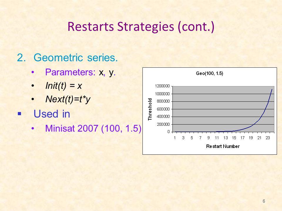6 Restarts Strategies (cont.) 2.Geometric series. Parameters: x, y.