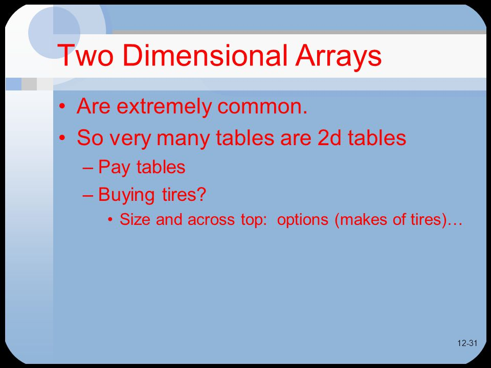 12-31 Two Dimensional Arrays Are extremely common.