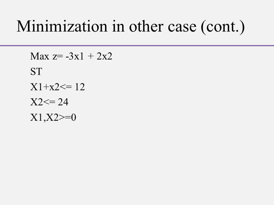 Minimization in other case (cont.) Max z= -3x1 + 2x2 ST X1+x2<= 12 X2<= 24 X1,X2>=0