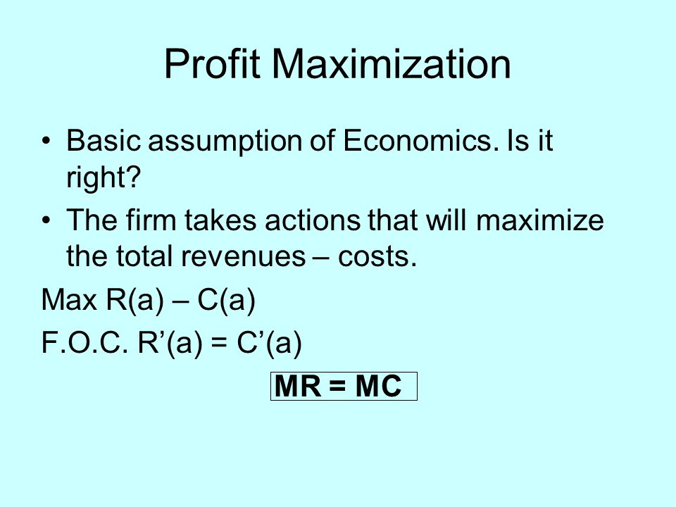 Profit Maximization Basic assumption of Economics.