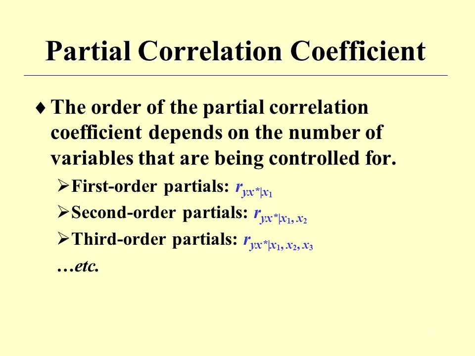 8 Partial Correlation Coefficient  Mathematical formula for Or