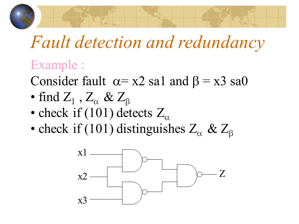 Fault detection and redundancy a set of inputs which detect all possible (detectable) faults is called a complete detection test set an input b = (b1… bn) distinguishes a fault  from another fault  if Z   Z  or Z   Z  = 1 a set of tests which distinguish all pairs of fault is called a complete location test set