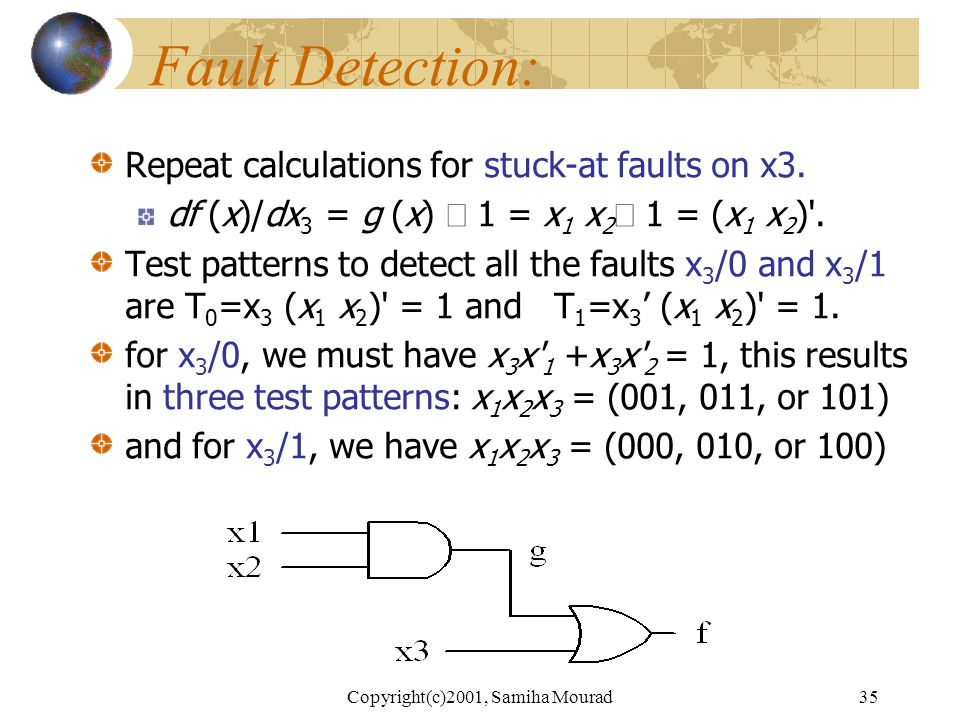 Copyright(c)2001, Samiha Mourad34 Fault Detection Consider an example function f (x) = g (x) +x 3,where g(x) = x 1 x 2, Thus df (x)/dx 2 = x 3  (x 1 + x 3 ) = x 3 'x 1 = 1.