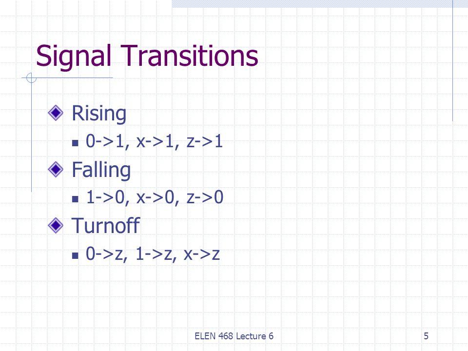 ELEN 468 Lecture 65 Signal Transitions Rising 0->1, x->1, z->1 Falling 1->0, x->0, z->0 Turnoff 0->z, 1->z, x->z