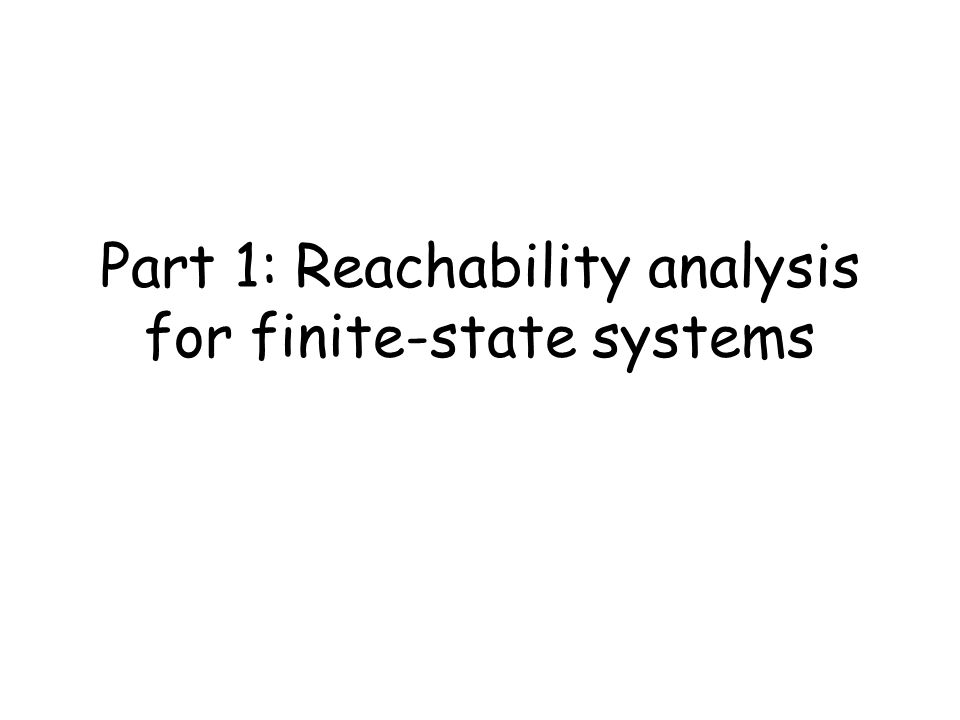 Part 1: Reachability analysis for finite-state systems