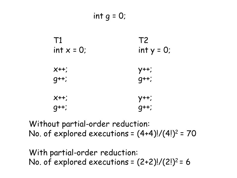 T1 int x = 0; x++; g++; x++; g++; int g = 0; T2 int y = 0; y++; g++; y++; g++; Without partial-order reduction: No.