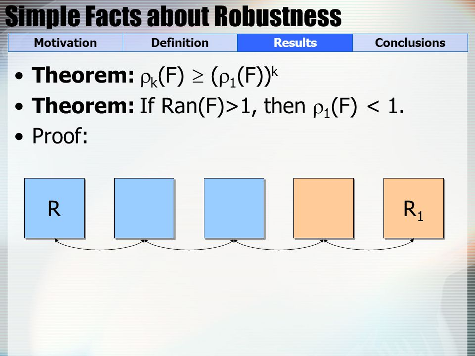 Simple Facts about Robustness Theorem:  k (F)  (  1 (F)) k Theorem: If Ran(F)>1, then  1 (F) < 1.