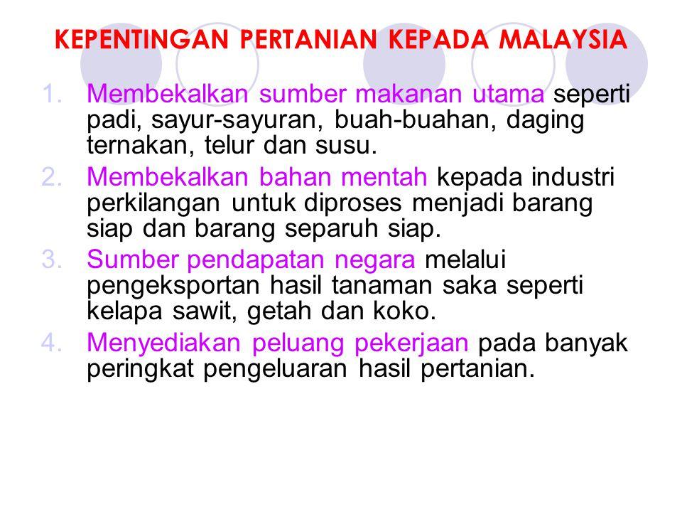 KEPENTINGAN PERTANIAN KEPADA MALAYSIA 1.Membekalkan sumber makanan utama seperti padi, sayur-sayuran, buah-buahan, daging ternakan, telur dan susu.