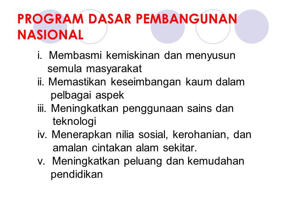 PROGRAM DASAR PEMBANGUNAN NASIONAL i. Membasmi kemiskinan dan menyusun semula masyarakat ii.