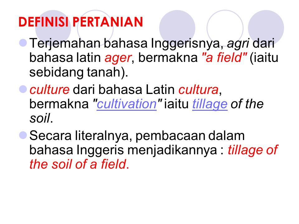 DEFINISI PERTANIAN Terjemahan bahasa Inggerisnya, agri dari bahasa latin ager, bermakna a field (iaitu sebidang tanah).