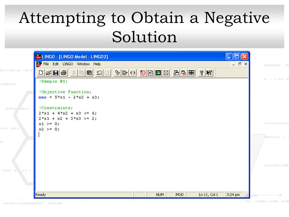 Attempting to Obtain a Negative Solution