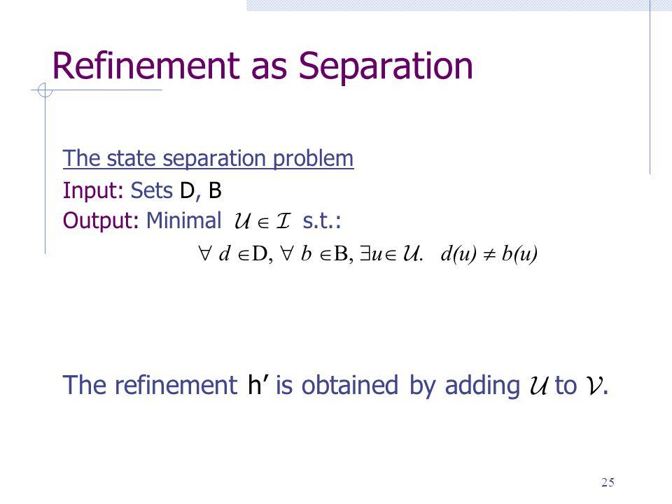 25 Refinement as Separation The state separation problem Input: Sets D, B Output: Minimal U  I s.t.:  d  D,  b  B,  u  U.