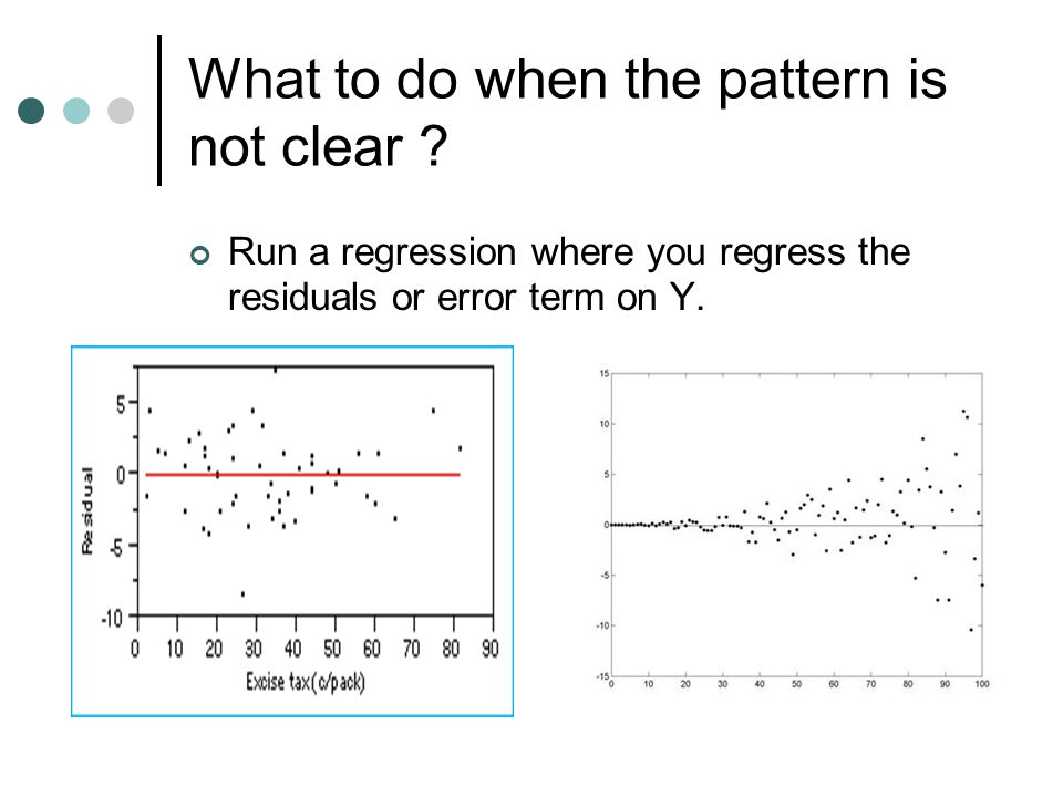 What to do when the pattern is not clear ? Run a regression where you regress the residuals or error term on Y.