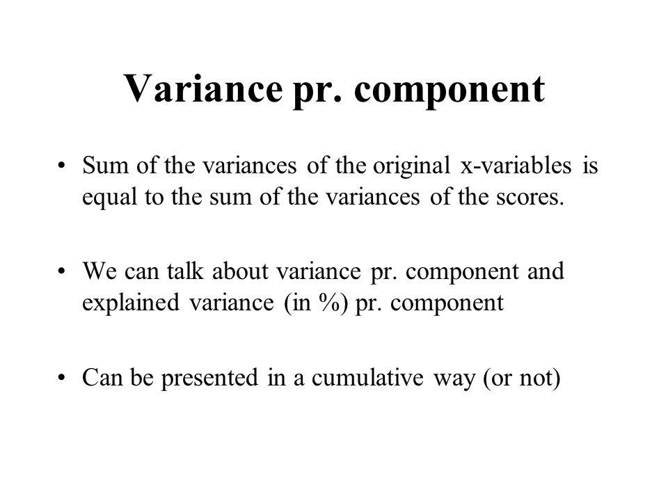 Variance pr.