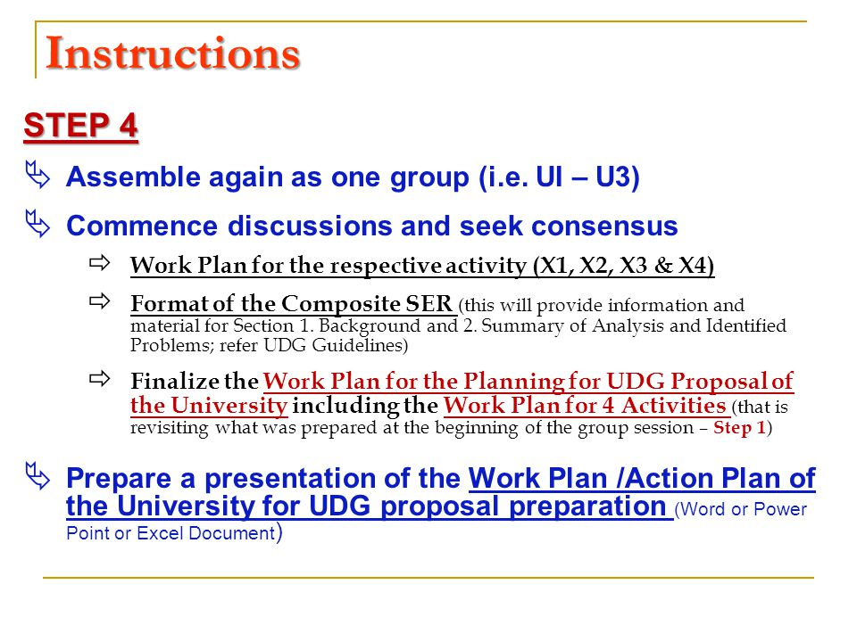 Instructions STEP 4  Assemble again as one group (i.e. UI – U3)  Commence discussions and seek consensus  Work Plan for the respective activity (X1